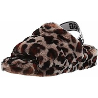 Ugg female fluff yeah slide leopard slipper,...